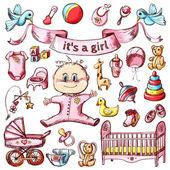 Colorful baby sketch set
