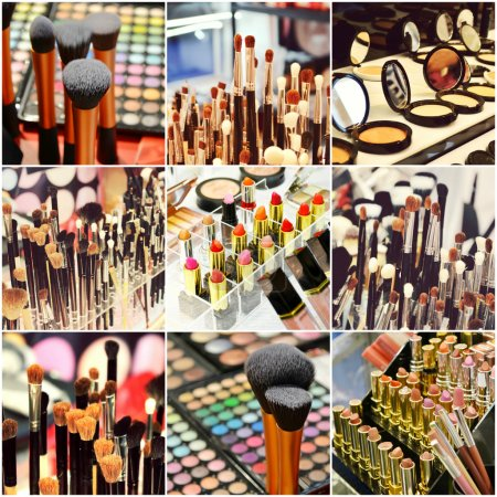 Collage of different cosmetic brushes for makeup and set of colorful lipsticks with other cosmetics on a dressing table