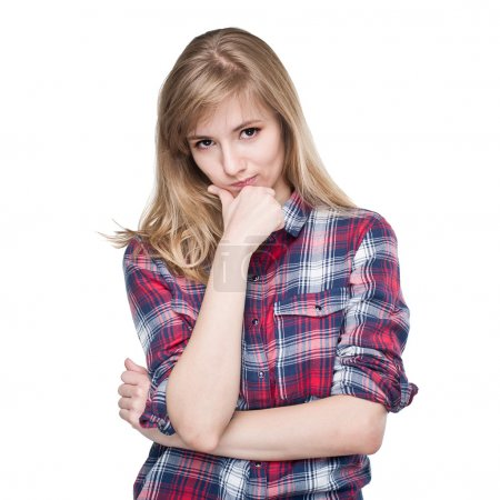 Photo for Skeptic attractive young woman looking at you camera isolated on white background - Royalty Free Image