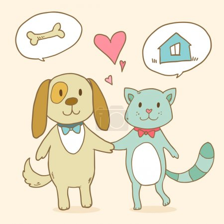 Illustration pour Chat et le chien rêve de maison et de l'alimentation. - image libre de droit