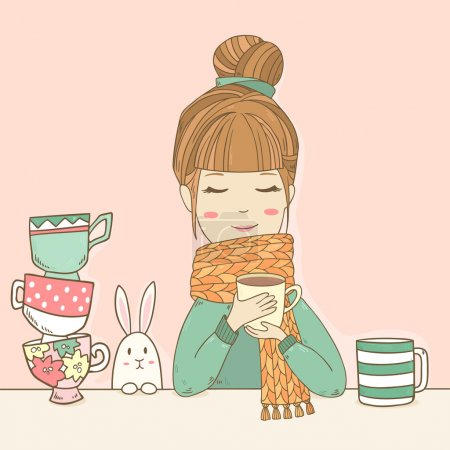 Illustration for Cute girl in sweater and scarf drinks hot tasty tea cup with rabbit. - Royalty Free Image