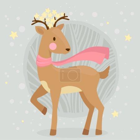 Cute cartoon deer in scarf and stars