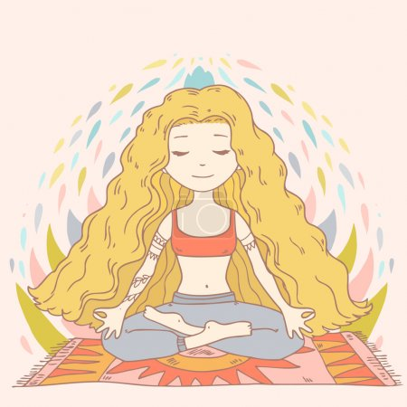 Illustration for Cute cartoon vector illustration with woman in yoga lotus position isolated on white background - Royalty Free Image