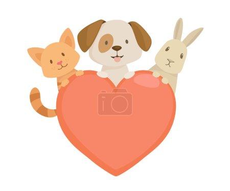 Illustration pour Emblème de coeur avec des animaux : meilleurs amis avec des personnages de chat, chien et lapin. Illustration vectorielle - image libre de droit