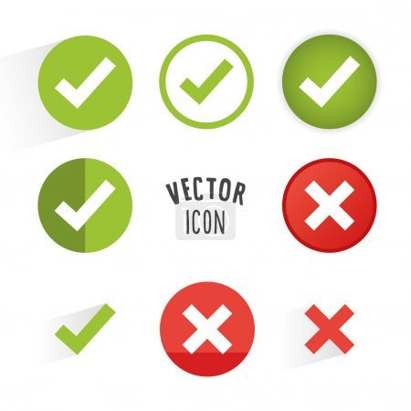 Illustration for Tick and cross icon set. Simple circle shape button with white minimalistic icon. Vector graphic elements. - Royalty Free Image