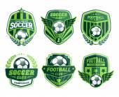 Set di calcio calcio creste e disegni emblema logo