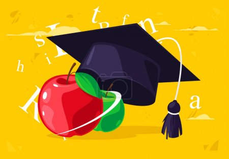 Illustration for Vector illustration of red and green apples with a classic academic student's cap with silhouettes of letters on the background - Royalty Free Image