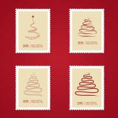 Set of Christmas Postage stamps with tree