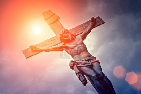 Photo for Bottom view of Crucifixion with sunlight - Royalty Free Image