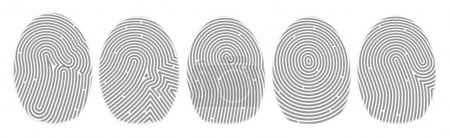 Five fingerprints on a white background