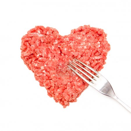 Heart-shaped ground beef