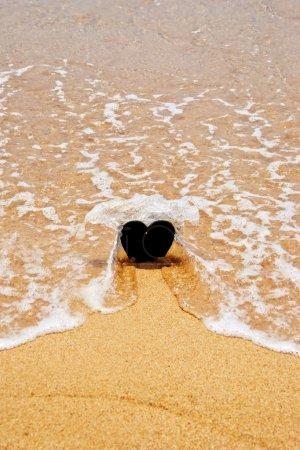 Handmade stone in sand