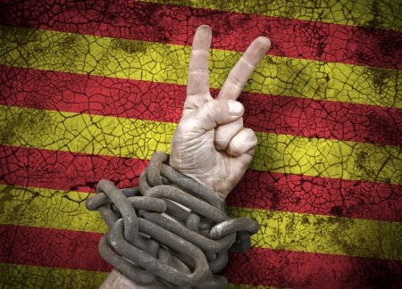 Hand victory sign in chains