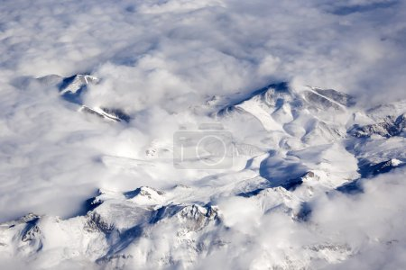 Mountain peaks in the clouds.
