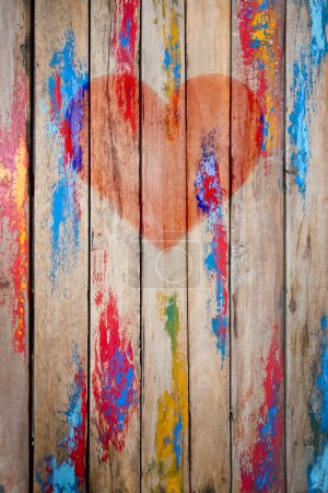 Heart on the planked wall