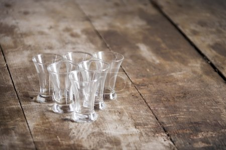 Glasses on a wooden table
