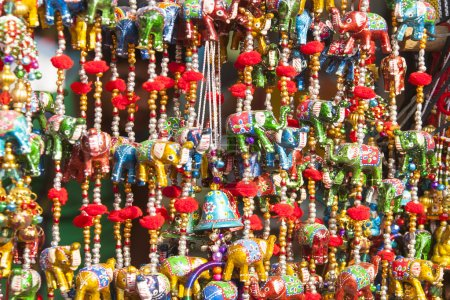 Multicolored suspension and beads.