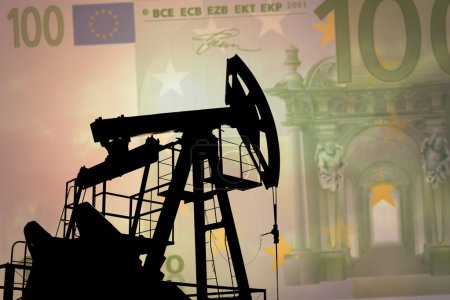 Oil pump with euro banknote