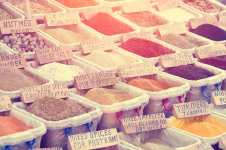 Colorful picturesque piles of spices