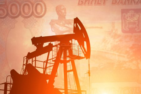 Oil pump with russian banknote