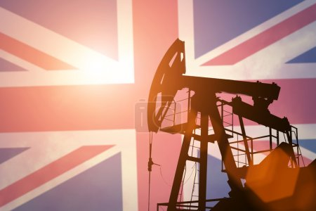 Oil pump with flag of Great Britain