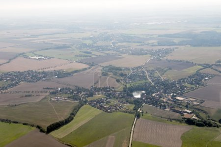 Aerial view of the land with settlement
