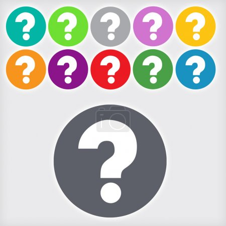 Photo for Question mark sign icon,  11 Round colourful buttons, Help symbol. - Royalty Free Image