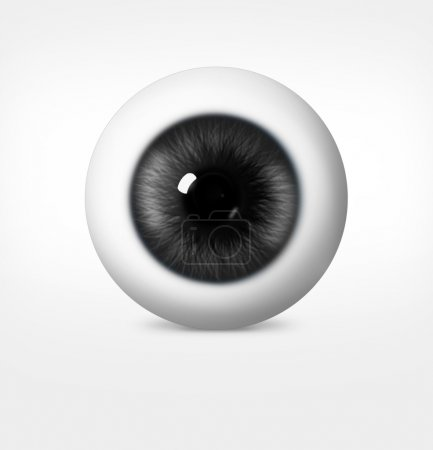 Photo for 3d eye of man on white background. eyeball with pupil gray shade - Royalty Free Image