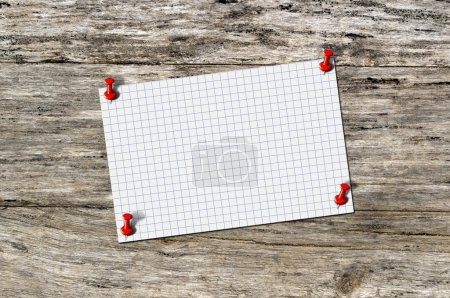 Photo for Blank paper memo on wood with red pushpin. Sheet of paper the cell on a wooden background - Royalty Free Image