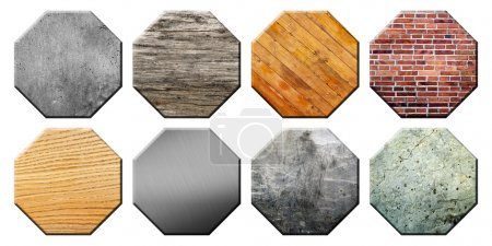 Photo for Set of different textured application icons. Illustration of colorful icons with different textures for applications. Set texturing octagons - Royalty Free Image