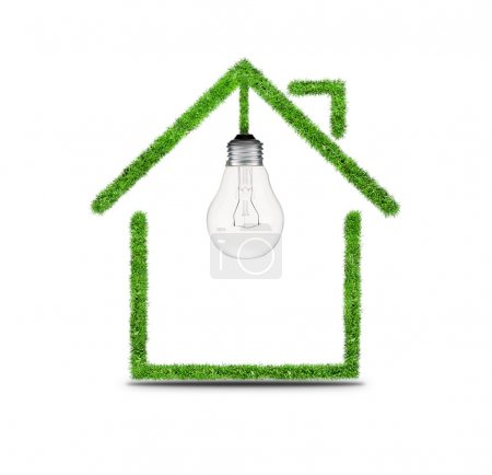 Photo for Light bulb in the house icon. Symbol of light bulb and house. Silhouette of house and bulb symbol electrification - Royalty Free Image