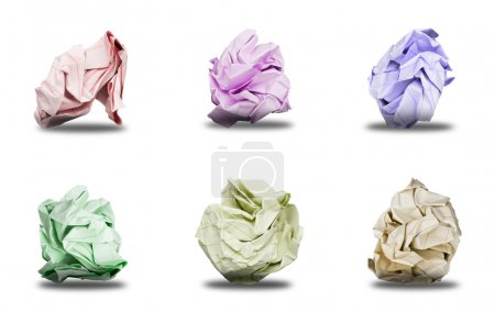 Photo for Set of 6 Balls Crumpled Paper. Balls Crumpled Paper isolated on white background - Royalty Free Image
