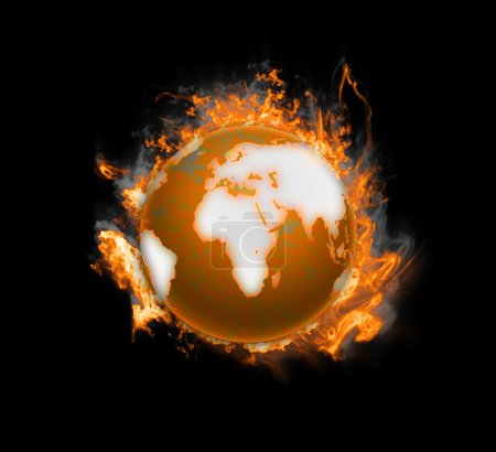 Photo for Earth burning after a global disaster. The concept global warming. Earth in flames on a black background - Royalty Free Image