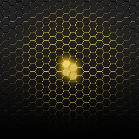 Photo for Yellow carbon pattern with hexagons. Abstract bright background of the small hexagons - Royalty Free Image