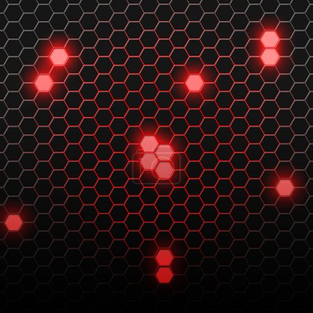 Photo for Red carbon pattern with hexagons. Abstract bright background of the small hexagons - Royalty Free Image