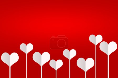 Photo for Illustration vibrant background on Valentines Day. Several white hearts standing on thin legs on a red background. The concept of love - Royalty Free Image