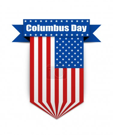 Photo for Hanging ribbon on the Columbus day in style american flag. Stylish banner on the american  Columbus day. Columbus day flag for websites. - Royalty Free Image
