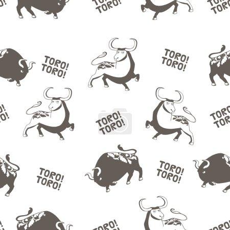 Pattern with Corrida bulls