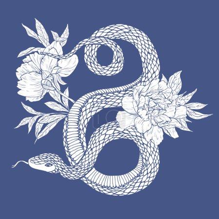 Illustration pour Illustration vectorielle. Secousse dessinée à la main avec des fleurs isolées sur fond blanc . - image libre de droit