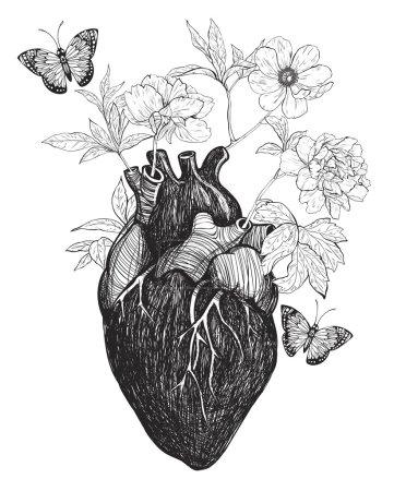 Illustration pour Coeur anatomique humain avec des fleurs isolées sur fond blanc. Illustration vectorielle vintage dessinée à la main . - image libre de droit