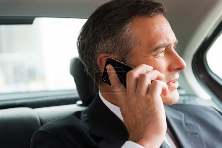 Businessman talking on mobile phone in car