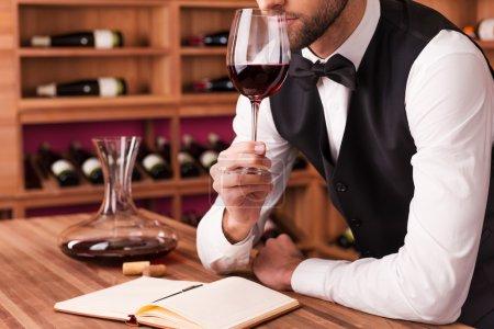 Male sommelier examining wine