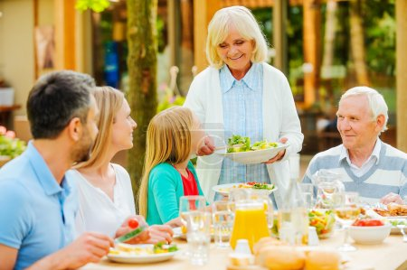 family enjoying meal together  outdoors