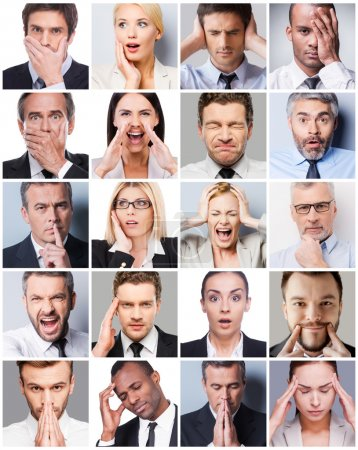 Photo for Collage of diverse multi-ethnic business people expressing different emotions - Royalty Free Image