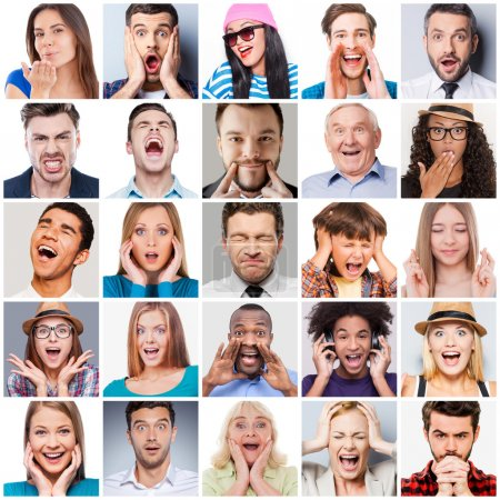 Photo for Collage of diverse multi-ethnic and mixed age range people expressing different emotions - Royalty Free Image