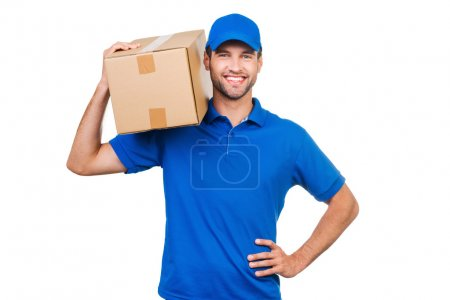 courier carrying cardboard box on shoulder