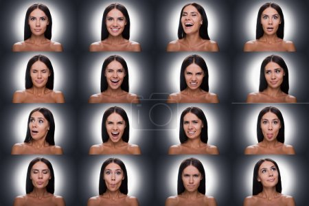 Collage woman expressing diverse emotions