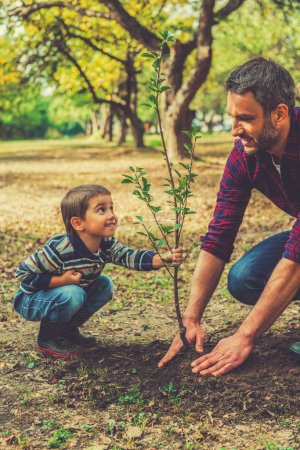 Photo for Playful little boy helping his father to plant the tree while working together in the garden - Royalty Free Image
