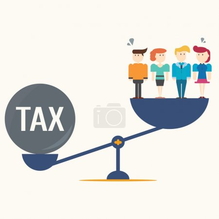 Illustration for Businessteam balancing with TAX on scales. - Royalty Free Image