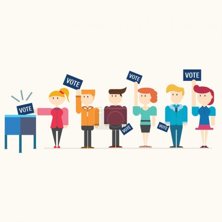 Many people voting at ballot box,vector,illustration.